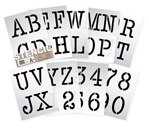 Dovetails Vintage Alphabet Schablonen Buchstaben, Zahlen 0–9 10cm hohe Typewriter Großbuchstaben auf 9 Blatt 29.5 x 20 cm