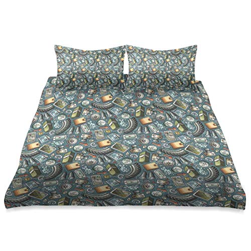 Duvet Cover,Cartoon Traveling Pattern with Coins Credit Cards Compass and Roads Doodle Design,3 Pieces Microfiber Bedding Set Ultra Softness Comfortable Modern Design