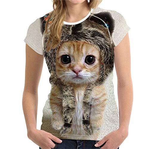 Rikay Womens Cute Cat Graphic 3D Printed Casual Short Sleeve T-Shirt Tops Plus Size S-XXXL (B, XXXL)