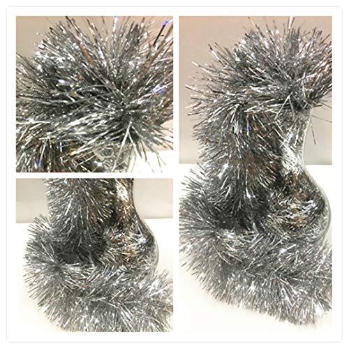 12u Espumillón de Navidad Ignífuga Extra Rellena de 12cm Diametro, Pack 12 x 2m Aprox. Guirnalda Festival Cinta de Navidad Decorativa Oropel (Herba Fina, Plateado)