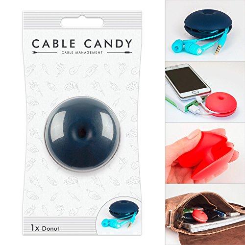 Kabelbinder und Kabelhalter für Unterwegs - Cable Candy - Donut Dark Blue