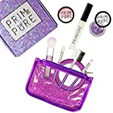 Prim and Pure Kids Glitter Cosmetic Mineral Makeup Play Set Bundle with Brushes and Mirror (Purple)