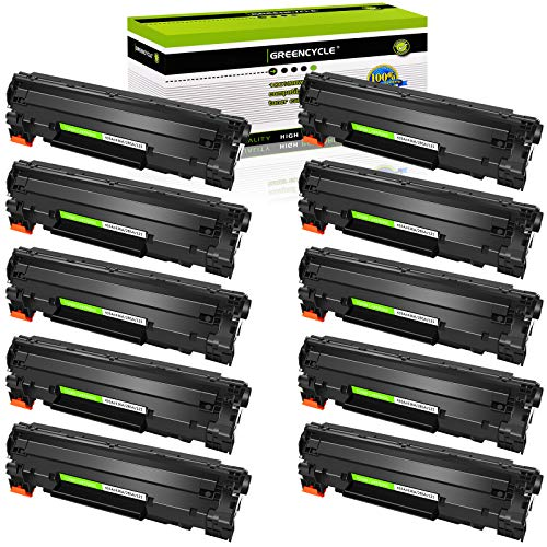 GREENCYCLE 10PK Replacement Compatible for HP 36A CB436A Black Mono Laser Toner Cartridge Ink use in Laserjet M1522n MFP M1522nf MFP P1505 P1505n M1120 MFP M1120n MFP M1522 MFP 1522F MFP MFP M1550