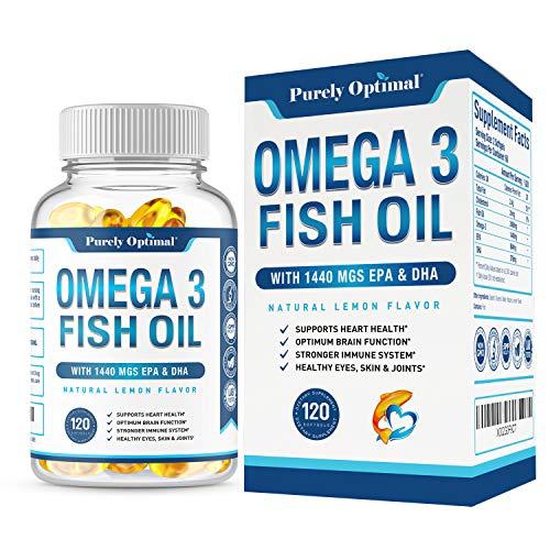 Premium Omega 3 Fish Oil Supplement 2400mg - Burpless Fish Oil Omega 3 Pills w/ 1440mg EPA & DHA, Supports Heart Health, Brain Function, Immune System & Eye Health - Lemon Flavor, Non-GMO 120 Softgels