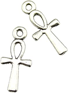 NEWME 200pcs ankh cross Charms Pendant For DIY Jewelry Wholesale Crafting Bracelet and Necklace Making (antique silver)