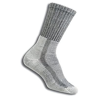 Thorlos Women's Thick Padded Hiking Crew Socks Sockshosiery, cloudburst grey, Large