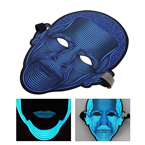 LED-masker, licht op Glow Voice Sound Control-maskers voor Halloween-kostuum Cosplay Party Music Festival