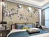 Mssdebz 3D Tapete Magnolia Handgemalten Stift New Bird Chinesischen Stil 3D Hintergrund Wand-200cmx140cm