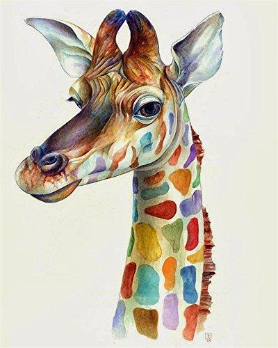 Ölgemälde zum Selbermachen, Malen nach Zahlen-Set für Kinder, Erwachsene, Anfänger, 40,6 x 50,8 cm, Giraffe-Motiv, Zeichnung mit Pinseln, als Weihnachtsdekoration oder Geschenk geeignet Ohne Rahmen