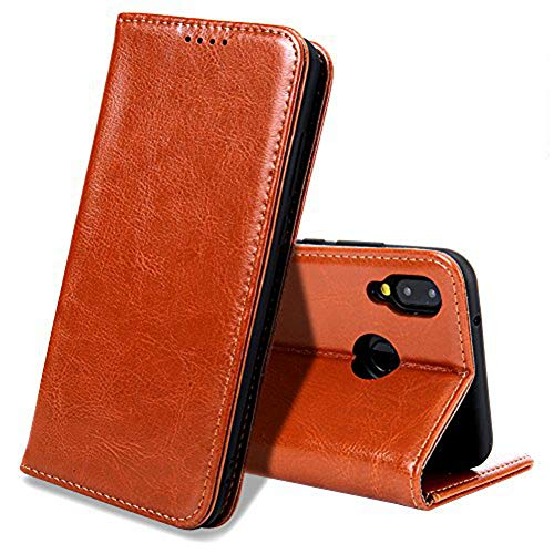 EATCYE Huawei P20 Lite Handyhülle, Echt Leder Magnet Hülle für Huawei P20 Lite (Braun)