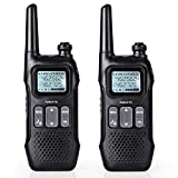 Radioddity FS-T1 FRS Two-Way Radio Long Range License-Free Walkie Talkies NOAA, 22 Channels 154 Privacy Codes with Earpiece, USB Charging, 2 Pack