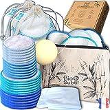 coffret 28 cotons demaquillants lavables reutilisables, 14 pcs bambou+14...