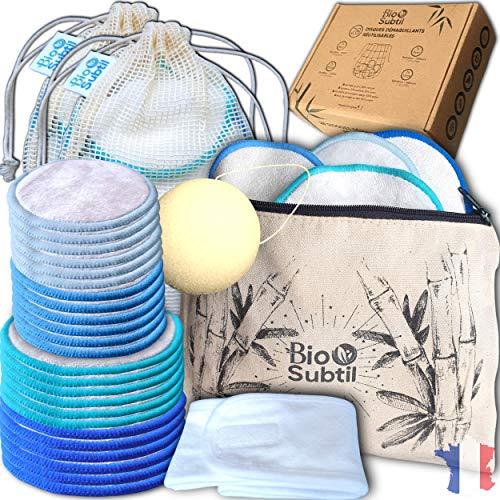 28 pcs cotons demaquillants reutilisables lavables, 14 bambou +14 velours, 8et10cm+ pochette zip + éponge konjac+ bandeau + sac de lavage x2, doux, écologique, idée cadeaux original, disque, lingette