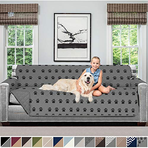 Sofa Shield Original Patent Pending Reversible X-Large Oversized Sofa Protector for Seat Width up to 78 Inch, Furniture Slipcover, 2 Inch Strap, Couch Slip Cover Throw for Dogs, Sofa, Paw, Gray Black