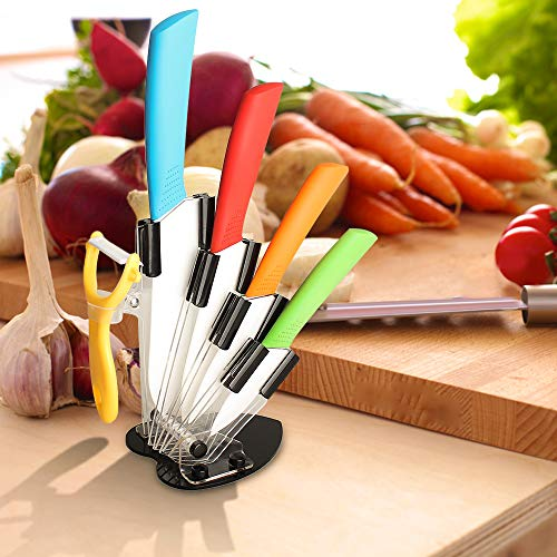 "Ceramic Knife Set,Five Piece 6"" Chef Knife, 5"" Utility Knife, 4"" Fruit Knife, 3"" Paring Knife, 1'' Vegetable Fruit Peeler, Rust Proof And Stain Resistant, Kitchen Chef Knife Sharp Set (Colorful)"