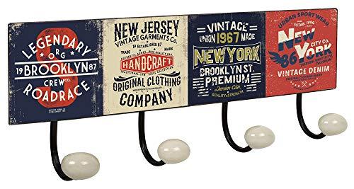 Lashuma Vintage Wandgarderobe 40 x 15,5 cm, Blechschild Badehaken Motiv New York, Große 4er Retrohaken Garderobenleiste