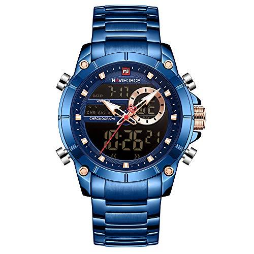 NAVIFORCE Edelstahlband Quarz Elektronische Armbanduhr Professionelle 3ATM Wasserdicht GMT Zeit Multifunktionale Leuchtdoppelwerke Chronograph Herrenuhr NF9163 Gold