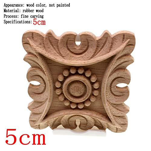 NHFVIRE Flower Carving Natural Wood Appliques For Furniture Cabinet Unpainted Wooden Mouldings Decal Decorative Figurines 5cm2 1PCS