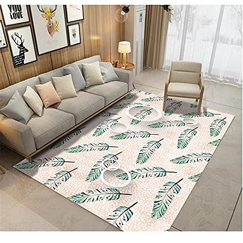 WCCCW Pluma Verde Simple patrón de Moda Arte Moderno sofá Dormitorio Sala de Estar al Lado del área de la Cama Alfombra-160x200cm para el salón fácil de Limpiar Igual Que la Foto