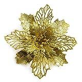 GL-Turelifes - Confezione da 12 Fiori di Stella di Natale Artificiali Glitterati, Ghirlanda di Natale per Albero di Natale, Diametro 16 cm,Oro