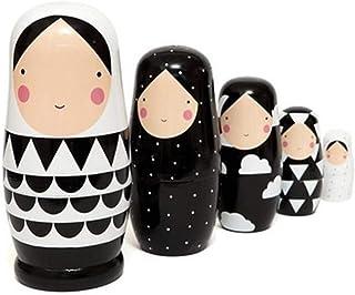Tomaibaby Matroschka Puppen Holz Traditionelle Babuschka 5 Schichten Rot M/ädchen Holzpuppen Holzspielzeug Zuhause Dekoration Weihnachten Geburtstag Festival Geschenk Kinder Spielzeug