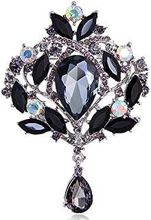 Reizteko Wedding Bridal Big Crystal Rhinestone Bouquet Brooch Pin for Women (Silver-Toned Black)