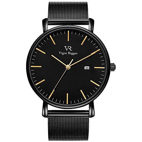 Vigor Rigger Unisex Uhren Herren Damen Armbanduhr Dünne schwarz Quarzuhr Gold Zeiger mit Datum Kalender und Edelstahl Armband Einfach Design