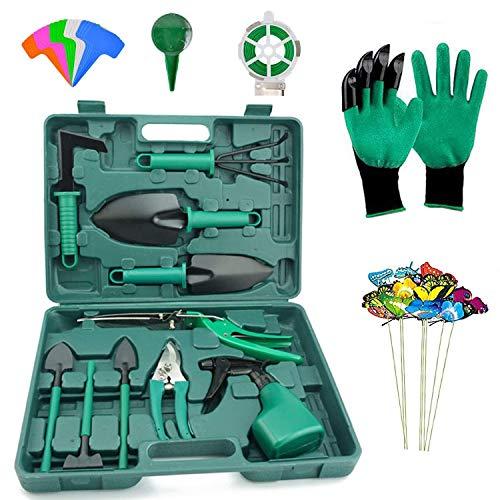 DM Gardening Tool Set, 35PCS Heavy Duty Aluminum Garden Tools Set for Women with Carrying Case, Ergonomic Handle Shovels, Rakes, Pruning Shears, Gardening Tools for Men (Green)