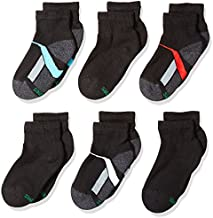 Hanes boys 6-pack Ankle Socks, Black, Shoe Size 3-9 US
