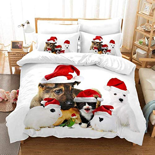 geek cook Duvet Cover Set king Size,Christmas digital printing quilt cover three-piece Christmas cat-BT_GB-Double200cm×200cm