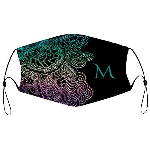 Mascarilla reutilizable de moda Ma_sks con monograma y encaje arco iris en negro o cualquier color, pasamontañas lavable al aire libre cara completa con 2 filtros para hombres y mujeres