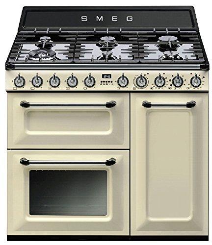 Smeg TR93PD Küchenherd, freistehend, cremefarben, drehbar, vorne, Gaskochfeld, klein