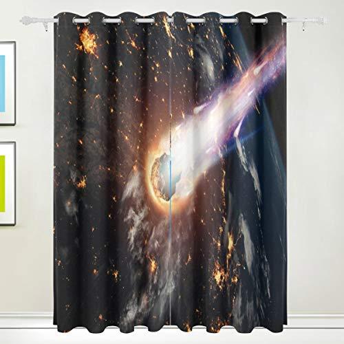 MOBEITI Vorhänge Blickdicht Lichtundurchlässig Verdunkelungsvorhänge,Kometen-Asteroiden-Meteorit glüht betritt die Erde,Wärmeisolierung für Schlafzimmer Wohnzimmer,W168*L138cm 2er Set