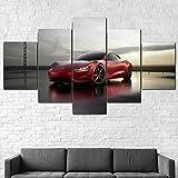 Cuadros Impresos En Lienzo Que Brillan En La Oscuridad 100X55Cm 5 Piezascoche Eléctrico Tesl Roadster 2020 Premium Lienzo De Tejido No Tejido Xxl