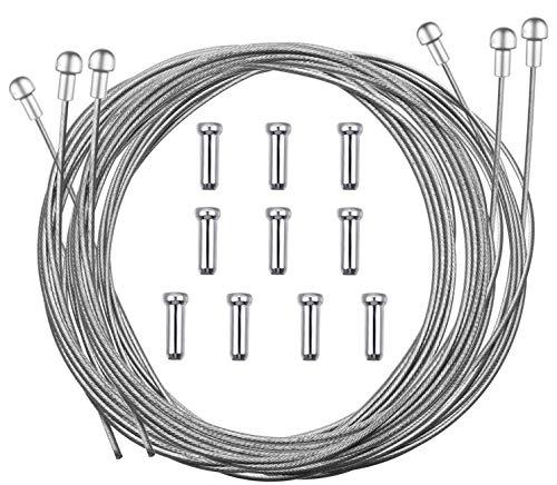 CTRICALVER Cable Freno Bicicleta, 6 pcs Cable de Freno de Bicicleta de Carretera, con 10 Piezas Tapa de Cable de Freno, Utilizado en Bicicleta de Carretera