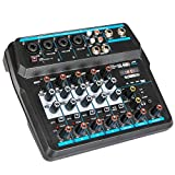 Depusheng U6 Audio Mixer 6-CHANNEL DJ Sound Controller Interface with USB,Soundcard for PC Recording,USB Audio Interface Audio Mixer, w/Dynamic Mic for Live Streaming