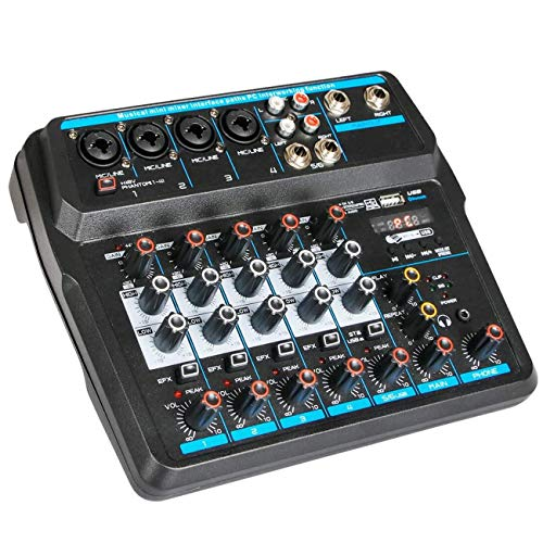 Depusheng U6 Musical Mini Mixer 6 Channels Audio Mixers Bluetooth USB Mixing Console with Sound Card Built-in 48V Phantom Power for Computer Recording, Bands