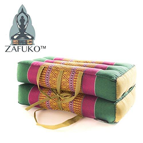 Zafuko Medium Foldable Meditation and Yoga Cushion - Green/Violet