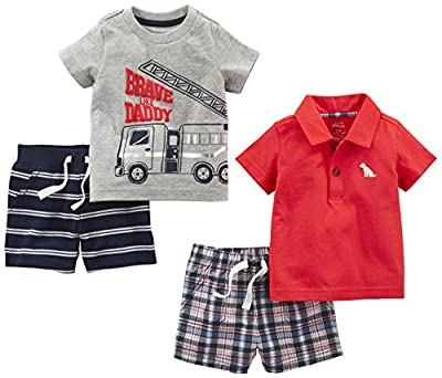 Simple Joys by Carter's Baby Boys' 4-Piece Playwear Set, Red Plaid/Fire Truck/Blue Stripe, 18 Months from Carter's Simple Joys - Private Label