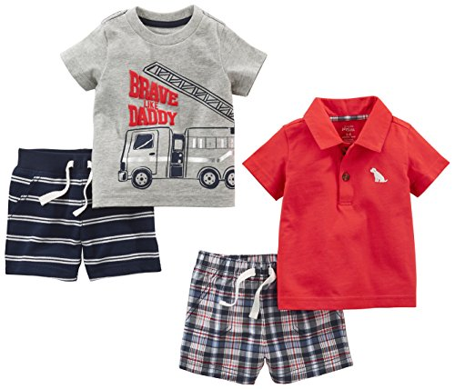 Simple Joys by Carter's Baby Boys' 4-Piece Playwear Set, Red Plaid/Fire Truck/Blue Stripe, 24 Months