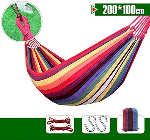 Camping hangmat Outdoor tuin camping rollover hangmat hangstoel enkele indoor home schommel canvas hangmat strand draagbare vouwen (Color : Rainbow, Size : 200 * 80cm)