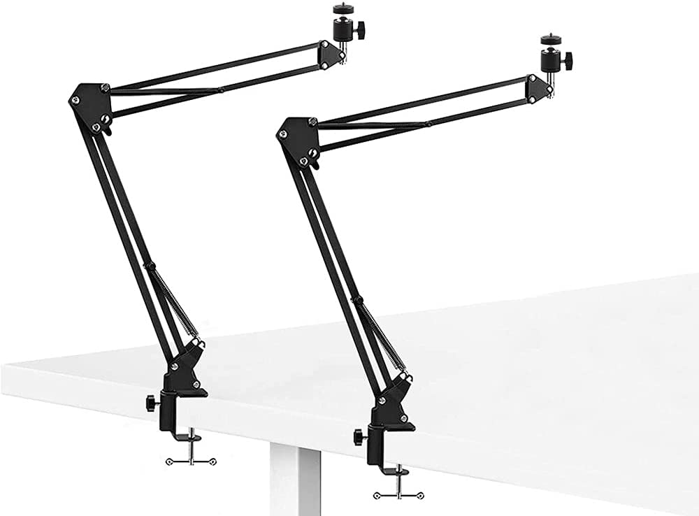 Desktop Arm Mount Stand, Selfie Stick Mount Video Light Stands with Adjustable 1/4