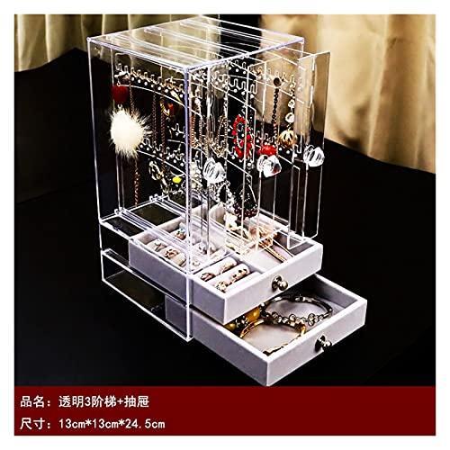 linger Caja de joyería Transparente Multifuncional Pantalla a Prueba de Polvo Soporte de Almacenamiento de aretes de Pendiente de Gran Capacidad Tridimensional (Color : C)
