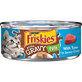 Purina Friskies Gravy Pate Wet Cat Food, Extra Gravy Pate With Tuna in Savory Gravy - (24) 5.5 oz. Cans