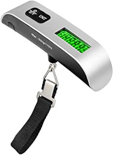 Leiking Digital Hanging Luggage Scale, Rubber Paint, Temperature Sensor, 110 Pounds, Silver