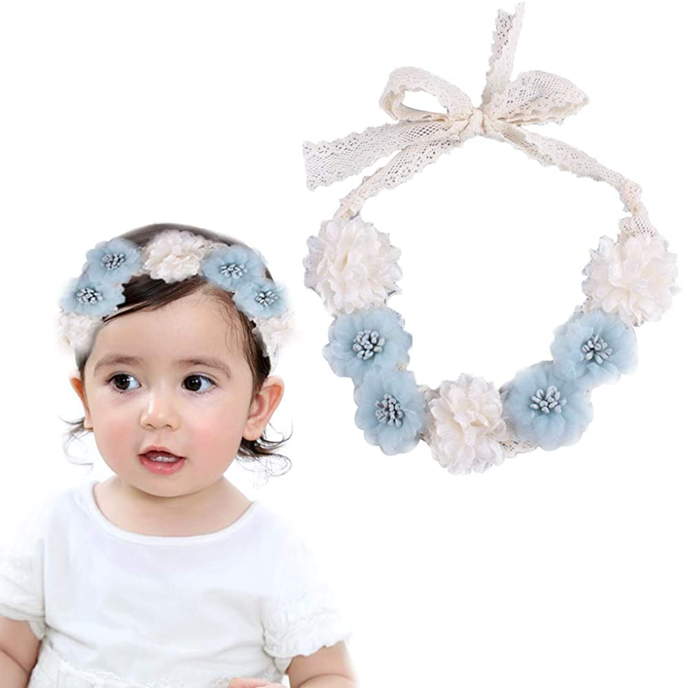 Flower Bow Headband for Baby Girls Toddlers Lace Hair Band Wedding Flower Girl Floral Crown Wreath Hair Accessories,1 Pcs