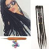DSOAR 100% Human Hair Dreadlocks 20 Inch 5 Strands/Pack Faux Locs Dreadlocks Extension Human Hair For Women And Men Dreadlocks Hair Black