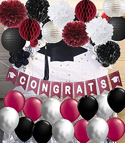 Graduation Decorations 2021 Maroon Grad Burgundy Silver Black Maroon Grad Burgundy Silver Black Balloon Congrats Banner 2021 Burgundy Graduation Party Supplies