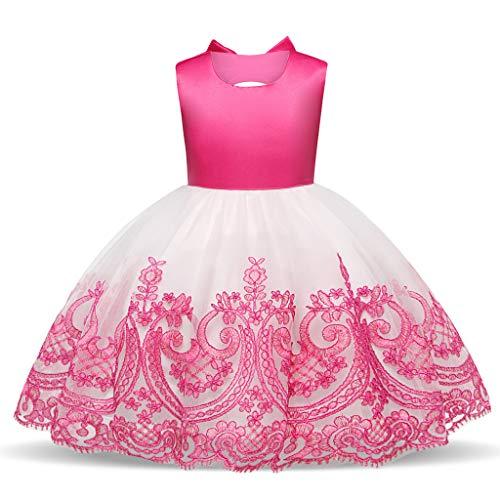 WUSIKY WUSIKY Baby Giels Kleid, Kind Mädchen Spitze Bowknot Prinzessin Hochzeit Leistung Formal Tutu Kleid Kleidung Minikleid Sommerkleid Elegant Lässige Rock Kinder Geschenk(90,Rosa)