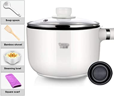 1.3 Litre Cooking Pots,Non-Stick Frying Multi-Function Slow Cooker Kettle Electric Rice Cookware Easy Control,Adjustable Knob For Cook/temperature Setting (Color : White, Size : Short)